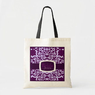 Damasco de Quatrefoil (púrpura) (boda) Bolsa Tela Barata