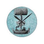 Damasco del Airboat |Blue del vintage Reloj De Pared