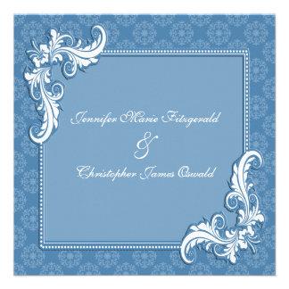 Damasco del azul de acero y boda floral del marco anuncios