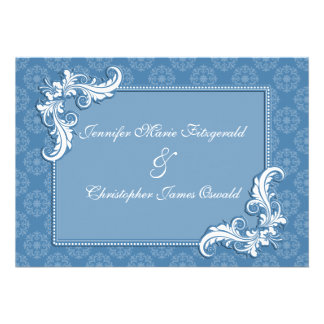 Damasco del azul de acero y boda floral del marco anuncio