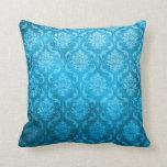 Damasco del azul de la aguamarina del vintage almohadas