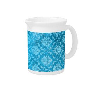 Damasco del azul de la aguamarina del vintage jarras para bebida