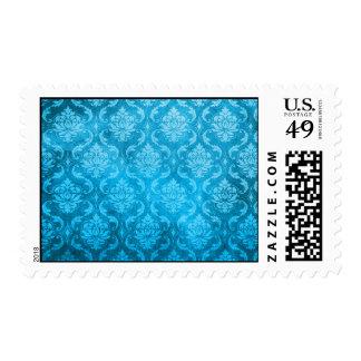 Damasco del azul de la aguamarina del vintage sellos
