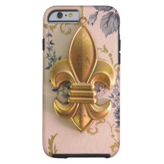 Damasco del azul de la flor de lis del oro del funda para iPhone 6 tough