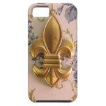 Damasco del azul de la flor de lis del oro del iPhone 5 cobertura