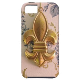 Damasco del azul de la flor de lis del oro del iPhone 5 carcasa
