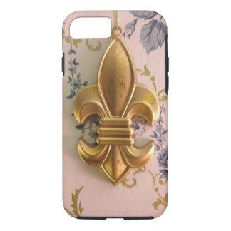 Damasco del azul de la flor de lis del oro del funda iPhone 7