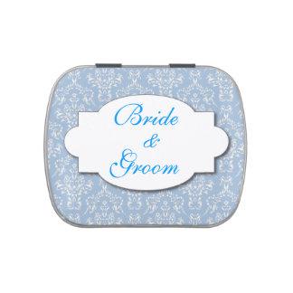 Damasco del azul del favor de banquete de boda jarrones de caramelos