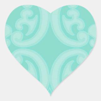 Damasco del azul del mar de la aguamarina pegatina en forma de corazón