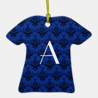 Damasco del azul del monograma ornamento para reyes magos