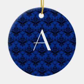 Damasco del azul del monograma ornamento de reyes magos