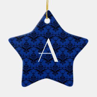 Damasco del azul del monograma adornos de navidad