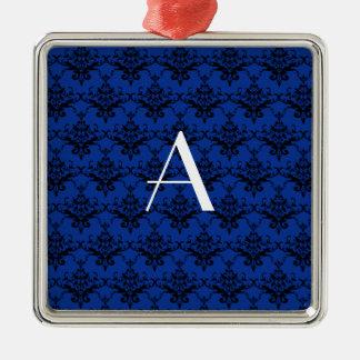 Damasco del azul del monograma ornamento para arbol de navidad