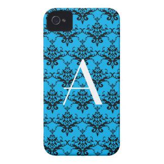 Damasco del azul del monograma Case-Mate iPhone 4 protector