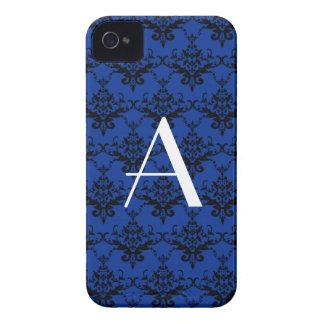 Damasco del azul del monograma Case-Mate iPhone 4 cárcasa
