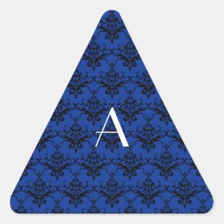 Damasco del azul del monograma calcomania triangulo