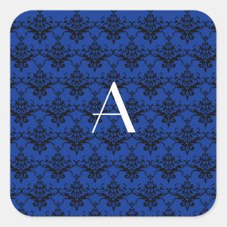 Damasco del azul del monograma calcomania cuadradas personalizada