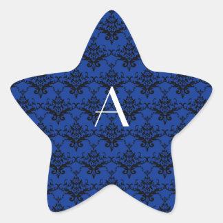 Damasco del azul del monograma calcomanía forma de estrella personalizada