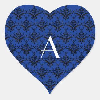 Damasco del azul del monograma calcomanía de corazón personalizadas