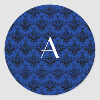 Damasco del azul del monograma pegatinas redondas