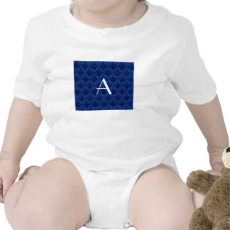 Damasco del azul del monograma traje de bebé