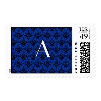 Damasco del azul del monograma sello