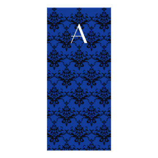 Damasco del azul del monograma tarjeta publicitaria