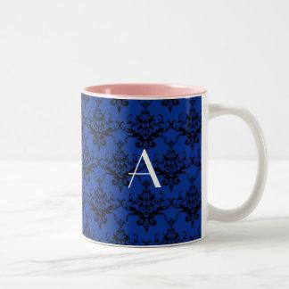 Damasco del azul del monograma tazas