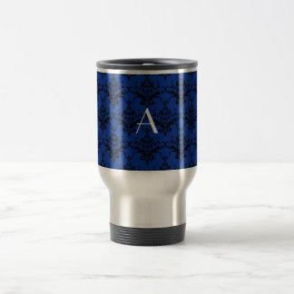 Damasco del azul del monograma taza