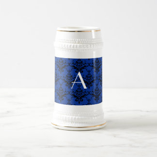 Damasco del azul del monograma taza de café