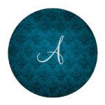 Damasco del azul del vintage del monograma fichas de póquer
