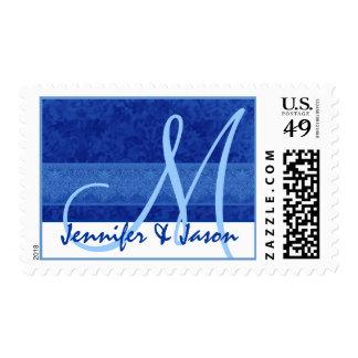 Damasco del azul real del monograma de novia y del sello
