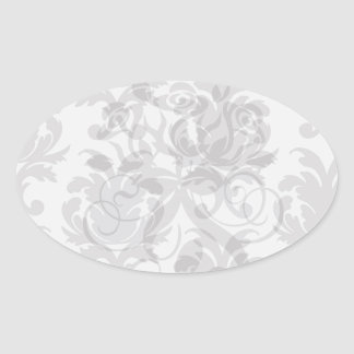damasco del Barroco del blanco gris Calcomania Óval