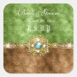Damasco del boda del rsvp del oro de Brown Pegatinas Cuadradas Personalizadas