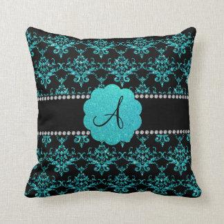 Damasco del brillo de la turquesa del monograma almohada