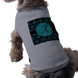 Damasco del brillo de la turquesa del monograma ropa perro