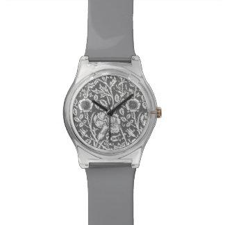 Damasco del clavel de Nouveau del arte, gris/gris Relojes De Pulsera