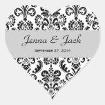 Damasco del corazón del boda blanco y negro calcomanía de corazón personalizadas