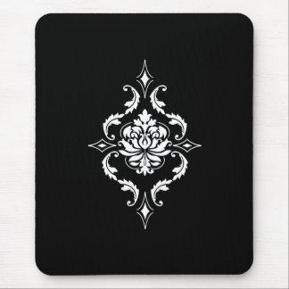 Damasco del diamante, blanco en negro alfombrilla de ratón