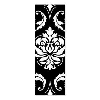 Damasco del diamante en blanco en negro tarjetas de visita