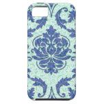 Damasco del diamante, impresión de Nouveau en azul iPhone 5 Case-Mate Protectores