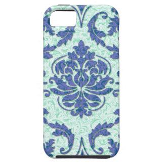 Damasco del diamante, impresión de Nouveau en azul Funda Para iPhone SE/5/5s