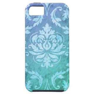Damasco del diamante, lluvia colorida en azul y funda para iPhone SE/5/5s