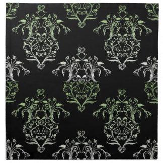 Damasco del estilo del vintage en negro y verde servilletas imprimidas