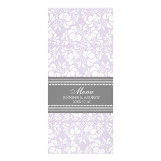 Damasco del gris de la lila del menú del boda lona publicitaria