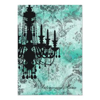 """Damasco del gris de la turquesa de la lámpara de invitación 5"""" x 7"""""""