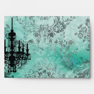 Damasco del gris de la turquesa de la lámpara de l sobres