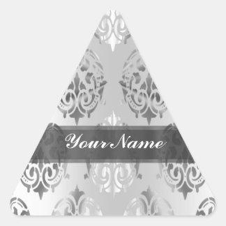 Damasco del gris de plata pegatina triangular