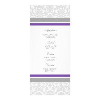 Damasco del gris del ciruelo del menú del boda tarjeta publicitaria a todo color