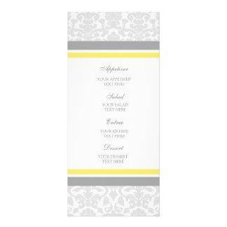 Damasco del gris del limón del menú del boda tarjeta publicitaria